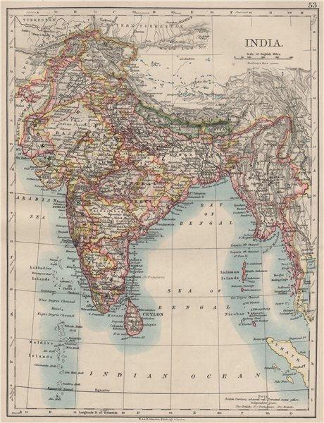 Associate Product BRITISH INDIA. Showing states. Burma Nepal Bhutan Ceylon.  JOHNSTON 1900 map