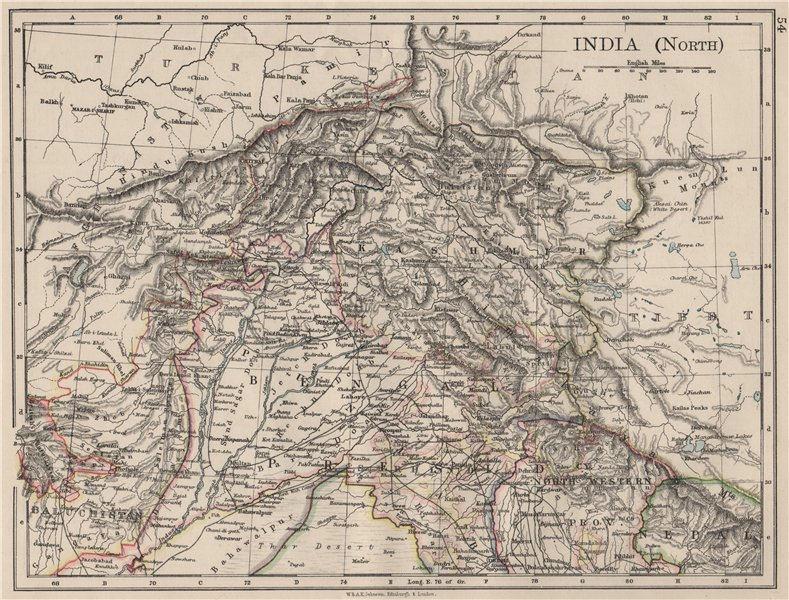 Associate Product BRITISH INDIA NORTH. Jammu Kashmir Punjab Himalayas. JOHNSTON 1900 old map