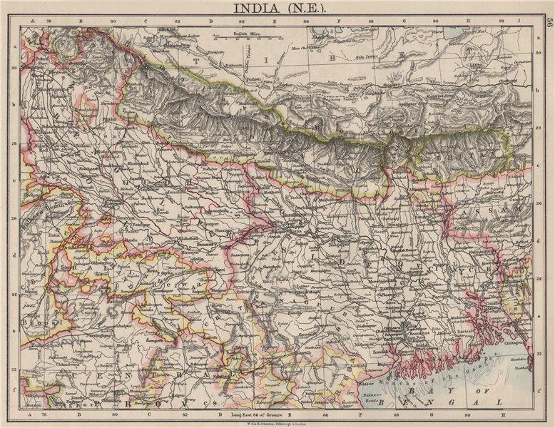 Associate Product BRITISH INDIA NE. Bengal Nepal Bhutan Calcutta Bangladesh. JOHNSTON 1900 map