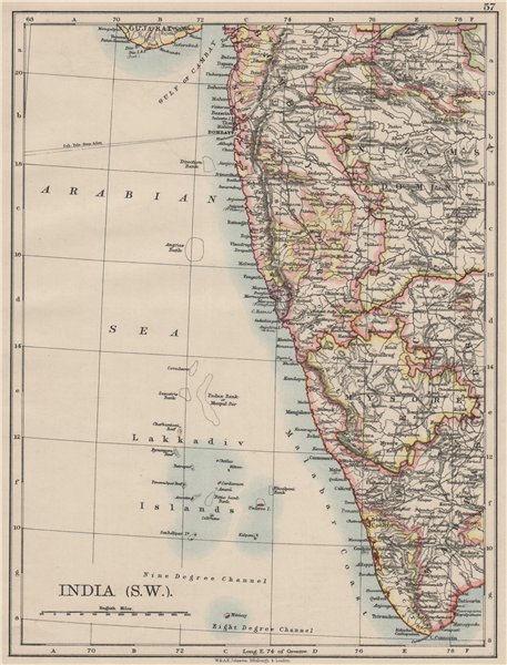 Associate Product BRITISH INDIA SW.Bombay Mysore Malabar Coast Lakkadives.  JOHNSTON 1900 map