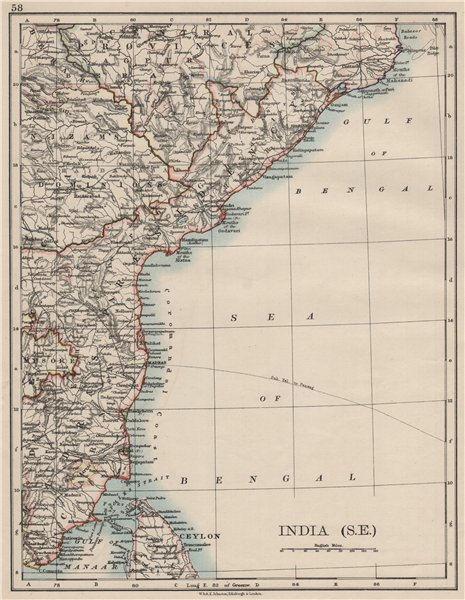 Associate Product BRITISH INDIA SE.Madras Karnatak. French Karikal Pondicherry.JOHNSTON 1900 map