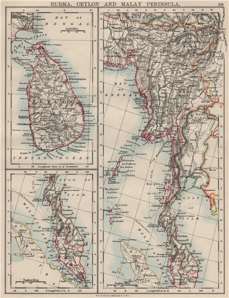 Associate Product BURMA CEYLON SIAM MALAY PENINSULA. Assam Singapore Thailand 1900 old map