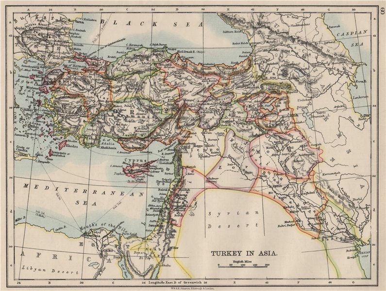 OTTOMAN TURKEY IN ASIA. Cyprus Levant Mesopotamia Palestine. JOHNSTON 1900 map