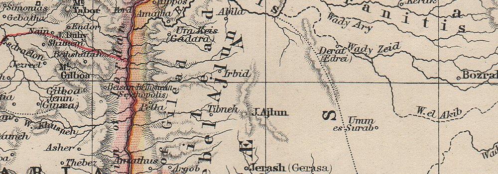 Galilee Samaria Judea Perea Phoenicia Decapolis Palestine Johnston 1906 Map