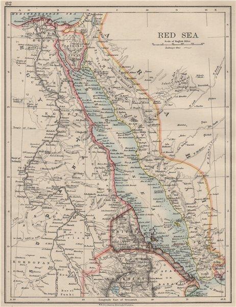 Associate Product RED SEA. Egypt Eritrea Hedjaz Asir Yemen. Nile valley. Sinai.  JOHNSTON 1900 map