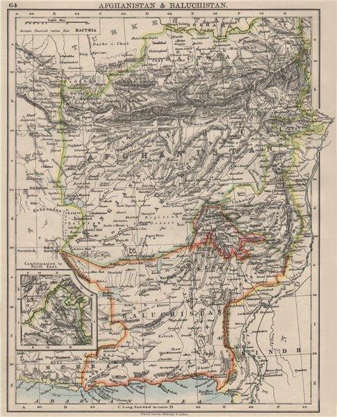Associate Product AFGHANISTAN & BALUCHISTAN. Kabul.British Baluchistan (pink).Pakistan  1900 map