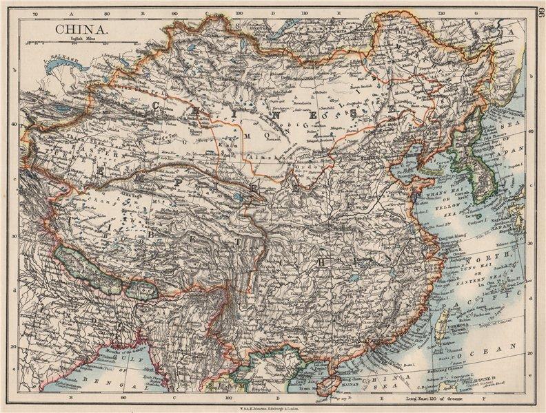 Associate Product CHINESE EMPIRE. China East Asia Tibet Mongolia East Turkestan Korea 1900 map