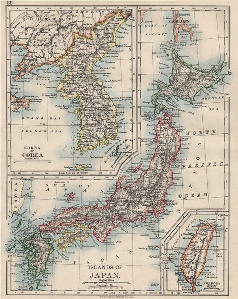 "Associate Product COREA JAPAN FORMOSA. Korea Taiwan. Hachijo ""penal settlement"". JOHNSTON 1900 map"