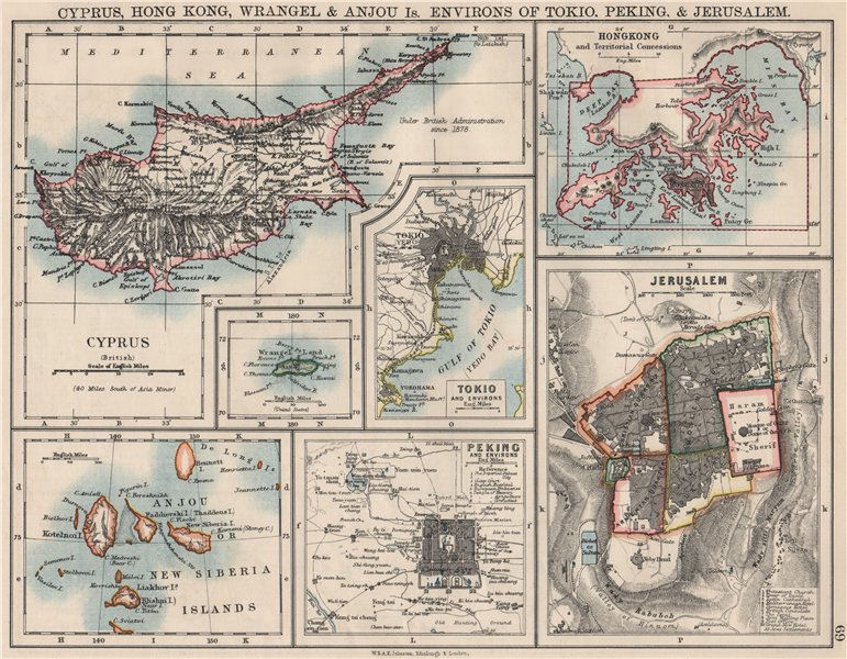 Associate Product CYPRUS HONG KONG TOKYO PEKING JERUSALEM. City plans. Anzhu islands  1900 map