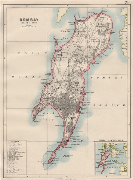 Associate Product BOMBAY ISLAND. City connected by Zion causeway. Mumbai. JOHNSTON 1900 old map