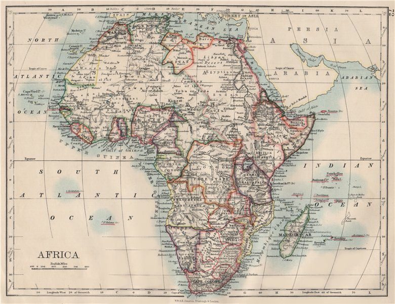 Associate Product COLONIAL AFRICA. British East/Central/South Africa. Bechuanaland  1900 old map
