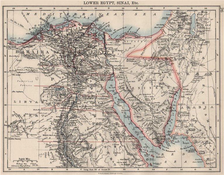 Associate Product LOWER EGYPT & SINAI. Provinces. Nile valley/delta. Railways.  JOHNSTON 1900 map
