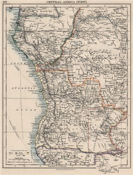 Associate Product COLONIAL CENTRAL AFRICA. French Congo Free State Portuguese West Af.  1900 map