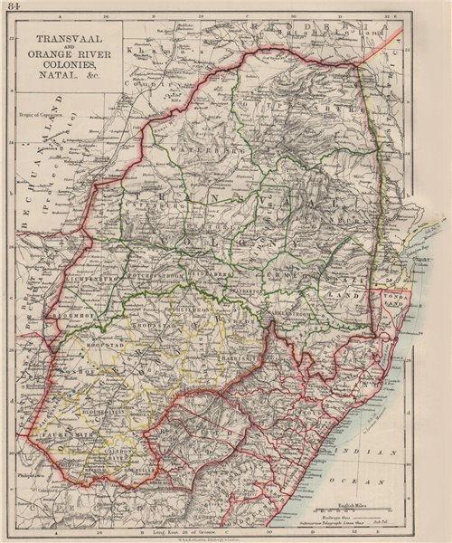 Associate Product COLONIAL SOUTH AFRICA. Orange Free State Natal Basutoland SA Republic 1900 map