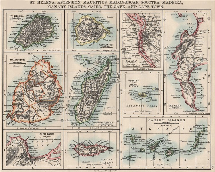 Associate Product AFRICAN ISLANDS.Mauritius Madagascar Madeira Canaries St Helena 1900 old map