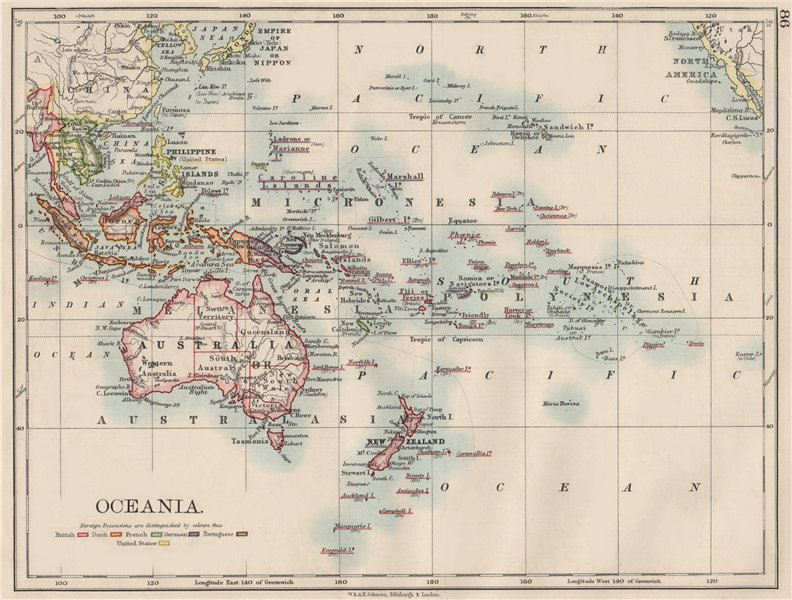 Associate Product COLONIAL OCEANIA PACIFIC.British Dutch Spanish French German Port. 1900 map