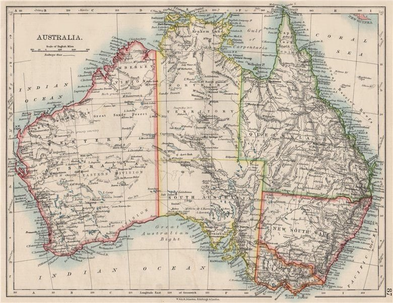Associate Product AUSTRALIA. States. Showing Northern Territory within SA. JOHNSTON 1900 old map
