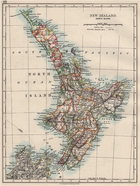 NORTH ISLAND NEW ZEALAND. Showing counties telegraph cables. JOHNSTON 1900 map