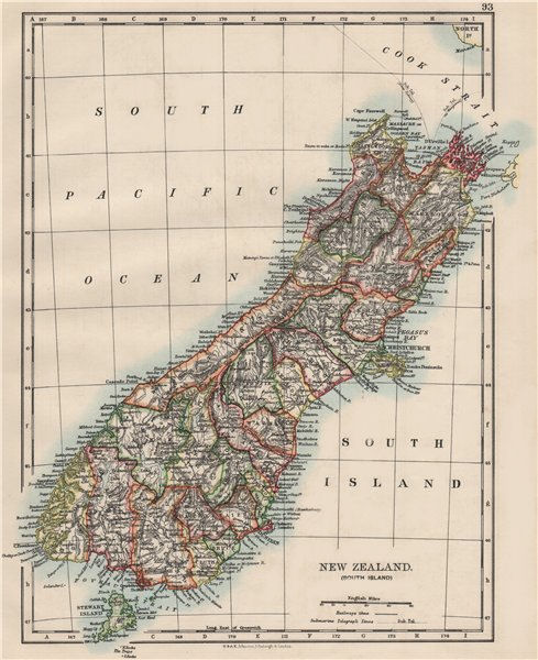 Associate Product SOUTH ISLAND NEW ZEALAND. Showing counties. Telegraph cables.  JOHNSTON 1900 map