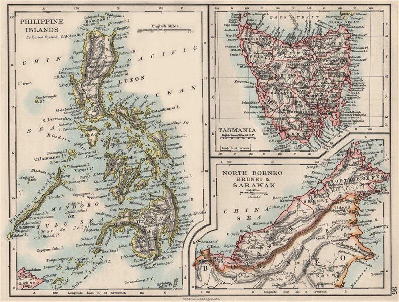 Associate Product EAST ASIA. Philippines Tasmania North Borneo Brunei Sarawak. JOHNSTON 1900 map
