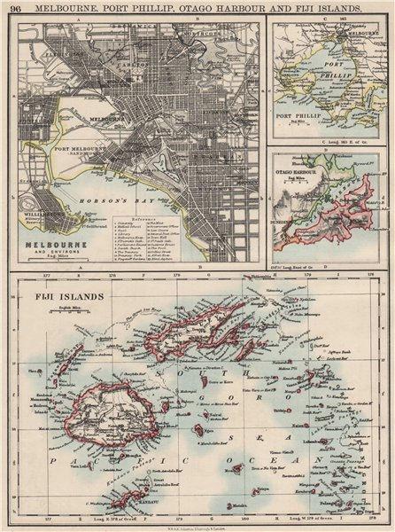 Associate Product AUSTRALASIA. Melbourne plan. Fiji Viti/Vanua Levu. Otago Port Phillip 1900 map