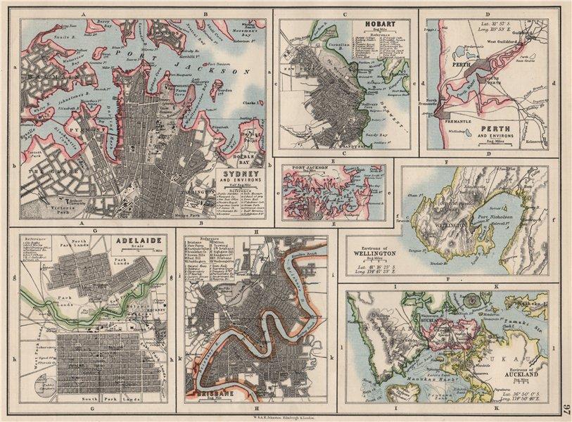 Associate Product AUSTRALIA NZ CITIES. Sydney Hobart Perth Adelaide Brisbane Auckland 1900 map