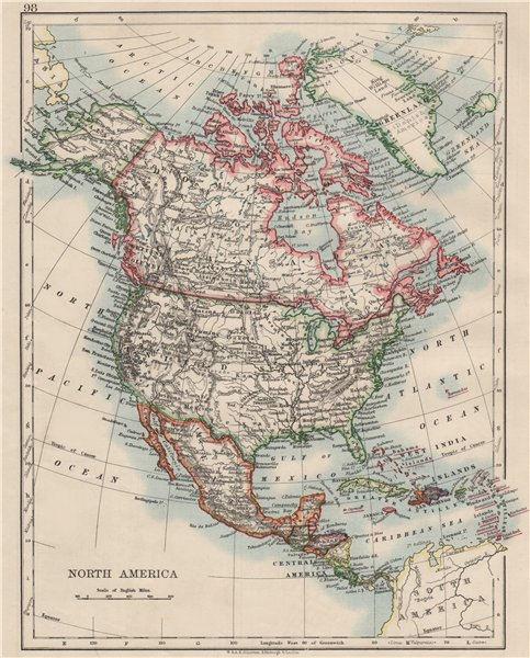 "Associate Product NORTH AMERICA POLITICAL. Greenland ""Danish America"" USA Canada Mexico 1900 map"