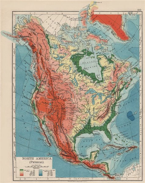 Associate Product NORTH AMERICA PHYSICAL. Relief. Key mountains heights. Ocean depths  1900 map