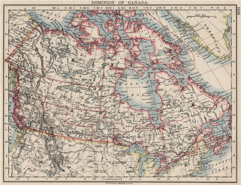 """Associate Product DOMINION OF CANADA. Showing """"new provinces"""" in red. Canadian Pacific 1900 map"""