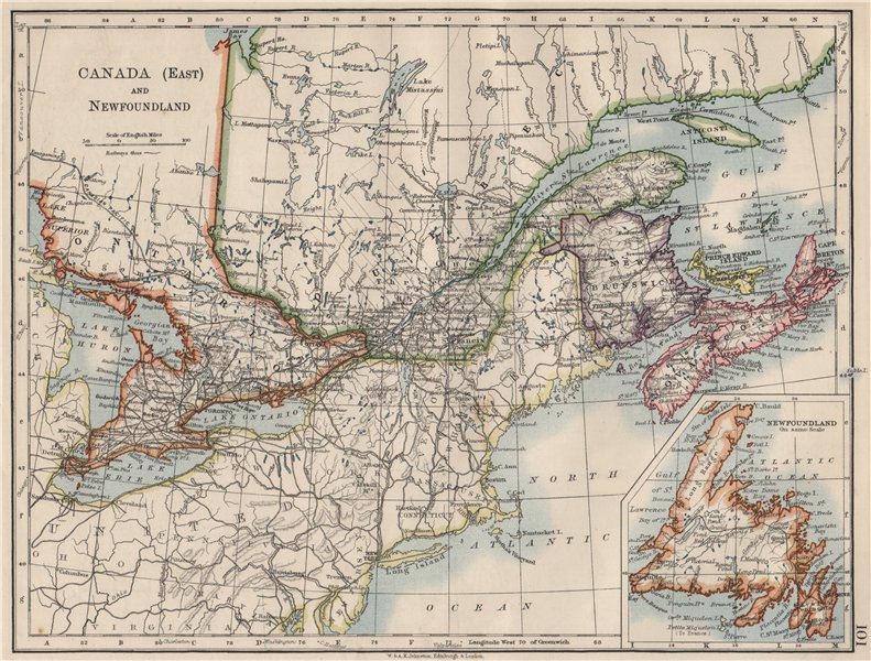 Associate Product EASTERN CANADA. Ontario Quebec Maritime Provinces NB PE NS.  JOHNSTON 1900 map