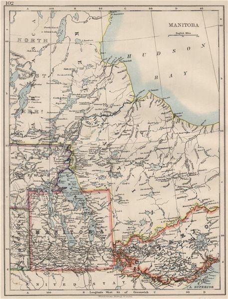 Associate Product MANITOBA. Winnipeg Canadian Pacific Railroad Keewatin Canada.JOHNSTON 1900 map
