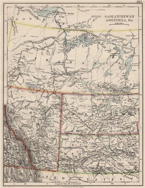 Associate Product CANADA PRAIRIES. Alberta Saskatchewan Assiniboia Athabasca. JOHNSTON 1900 map