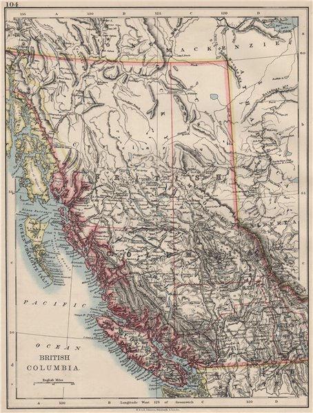 Associate Product BRITISH COLUMBIA. Province map. Railroads. Vancouver island.  JOHNSTON 1900