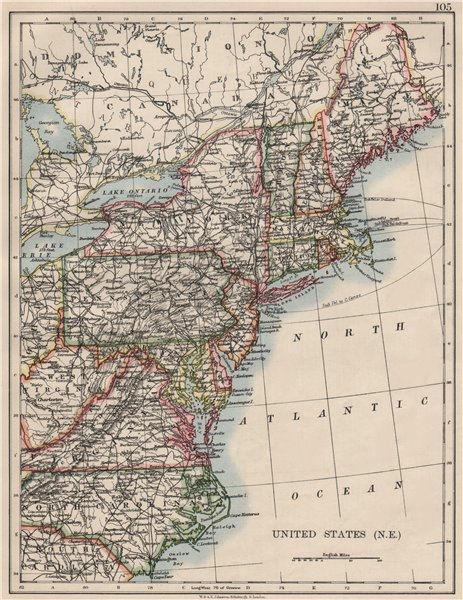 Associate Product UNITED STATES NORTH EAST. New England Appalachia Atlantic states. USA 1900 map