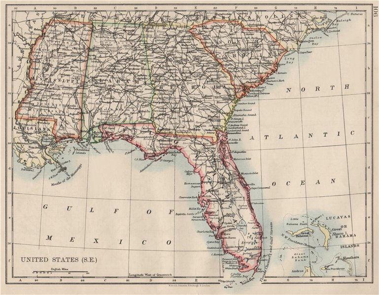 Associate Product USA DEEP SOUTH. Florida South Carolina Georgia Alabama Mississippi USA 1900 map