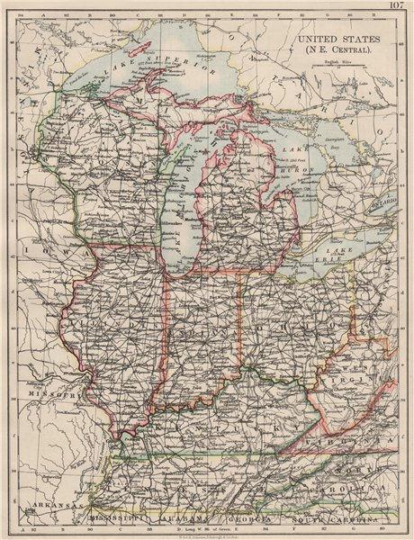 Associate Product USA MID WEST. Wisconsin Michigan Illinois Ohio Indiana Kentucky TN 1900 map