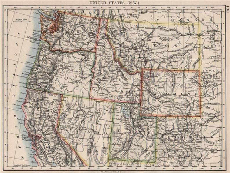 Associate Product USA NORTH WEST. Washington Oregon ID MT WY Utah Nevada CA.JOHNSTON 1900 map