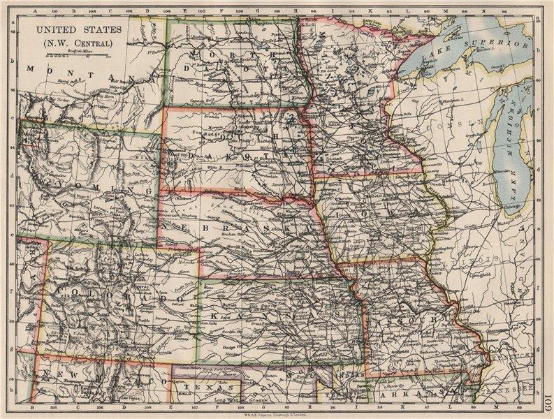 Associate Product USA PLAINS STATES. Iowa Minnesota Kansas NE ND SD Colorado. JOHNSTON 1900 map