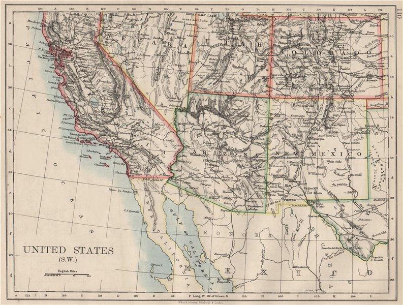 Associate Product USA SOUTH WEST. California Arizona NM Colorado Utah Nevada.  JOHNSTON 1900 map