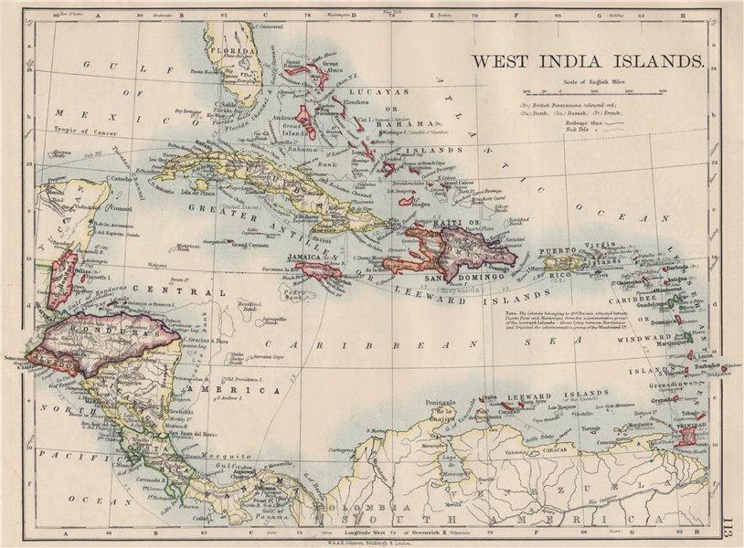 WEST INDIA ISLANDS. Caribbean Lucayas Caribbee Cuba. JOHNSTON 1900 old map