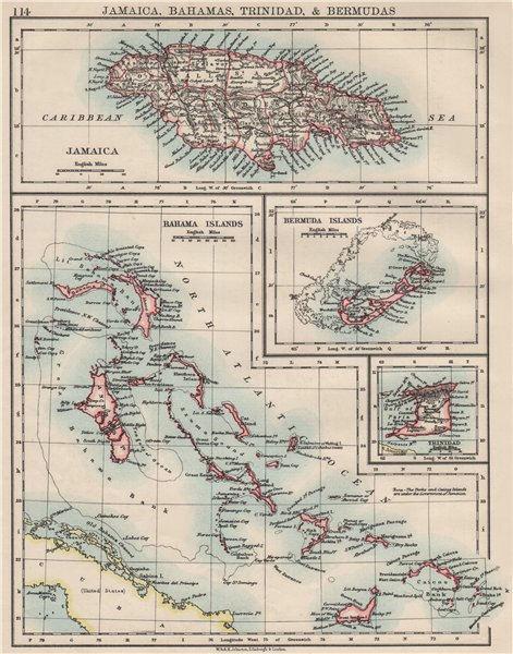 Associate Product CARIBBEAN/ATLANTIC ISLANDS.Jamaica Bermuda Bahamas Trinidad.  JOHNSTON 1900 map