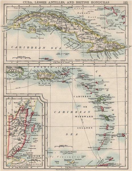 Associate Product CARIBBEAN ISLANDS.Cuba British Honduras Caribbee/Windward. JOHNSTON 1900 map