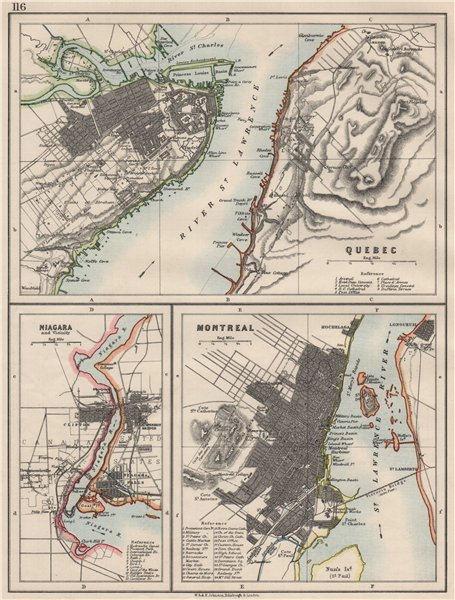 Associate Product CANADIAN CITIES.Quebec Montreal MontréalNiagara Falls plans.  JOHNSTON 1900 map