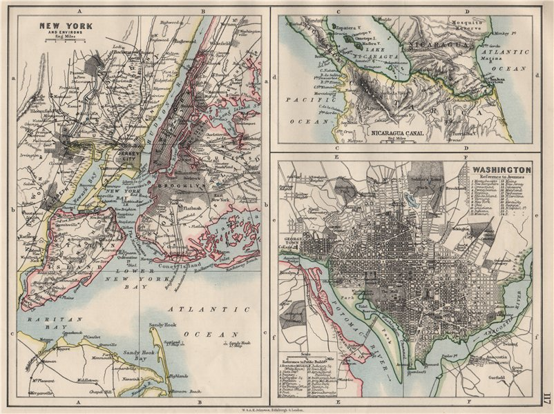 US CITIES/NICARAGUA CANAL.New York & Washington plans.  JOHNSTON 1900 old map