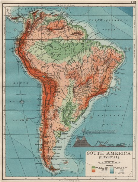 Associate Product SOUTH AMERICA PHYSICAL. Inset West-East cross section. JOHNSTON 1900 old map