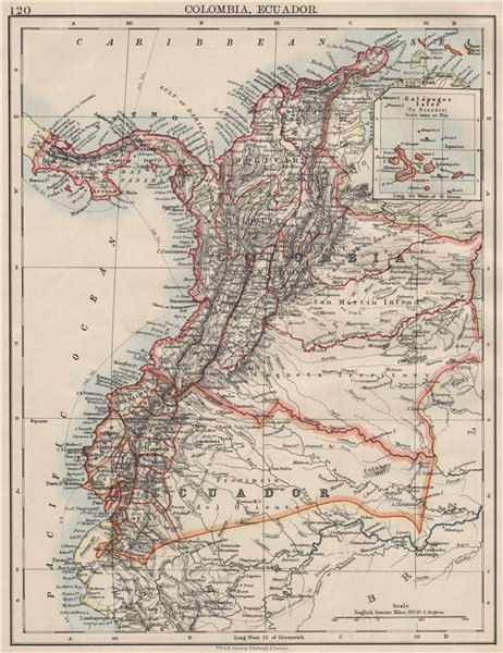 Associate Product ANDEAN STATES. Colombia Ecuador Panama. States. South America. JOHNSTON 1900 map