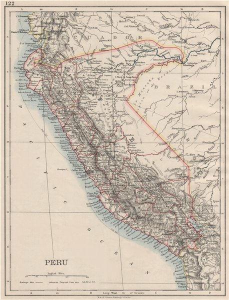 Associate Product PERU. Border as before Peru-Ecuador war (1941). JOHNSTON 1900 old antique map