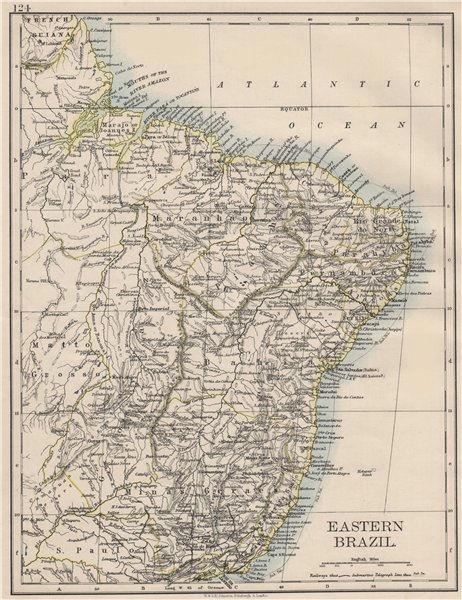 Associate Product EASTERN BRAZIL. Bahia Minas Gerais Pernambuco Marabhao.  JOHNSTON 1900 old map
