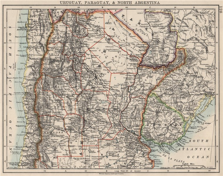 Associate Product URUGUAY PARAGUAY NORTH ARGENTINA. River Plate States Chile. JOHNSTON 1900 map