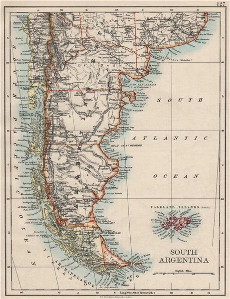 Associate Product PATAGONIA. Southern Argentina & Chile. Falkland Islands. JOHNSTON 1900 old map
